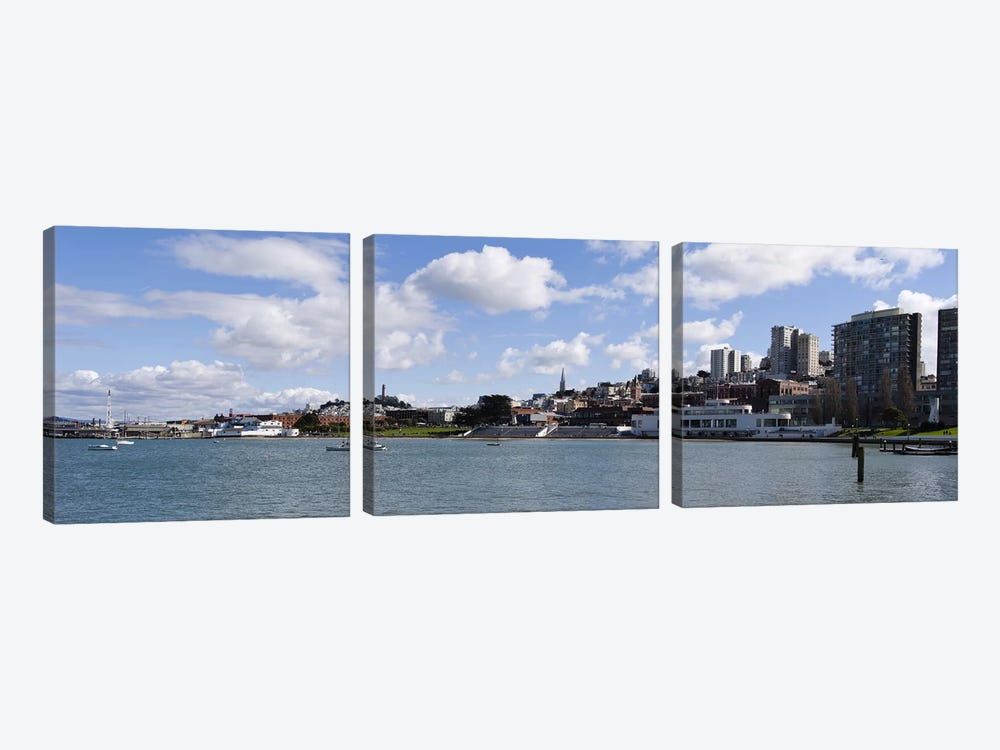 Skyscrapers at the waterfront, Transamerica Pyramid, Ghirardelli Building, Coit Tower, Marina Park, San Francisco, California, U by Panoramic Images 3-piece Canvas Print