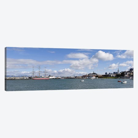 Boats in the bay, Transamerica Pyramid, Coit Tower, Marina Park, Bay Bridge, San Francisco, California, USA Canvas Print #PIM10165} by Panoramic Images Canvas Wall Art