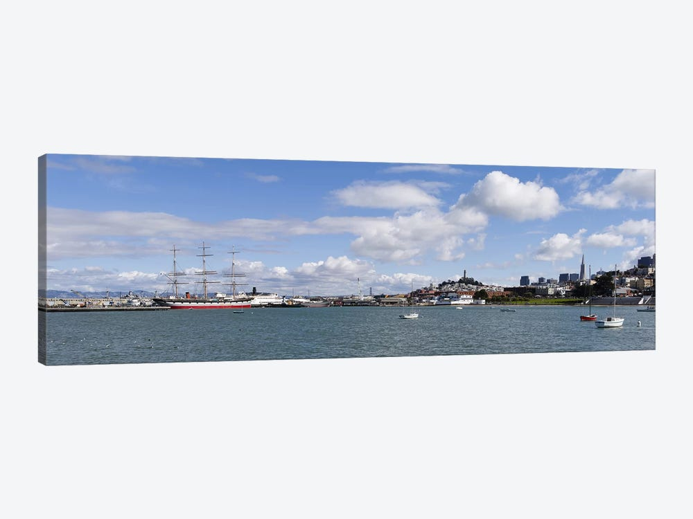 Boats in the bay, Transamerica Pyramid, Coit Tower, Marina Park, Bay Bridge, San Francisco, California, USA by Panoramic Images 1-piece Canvas Artwork