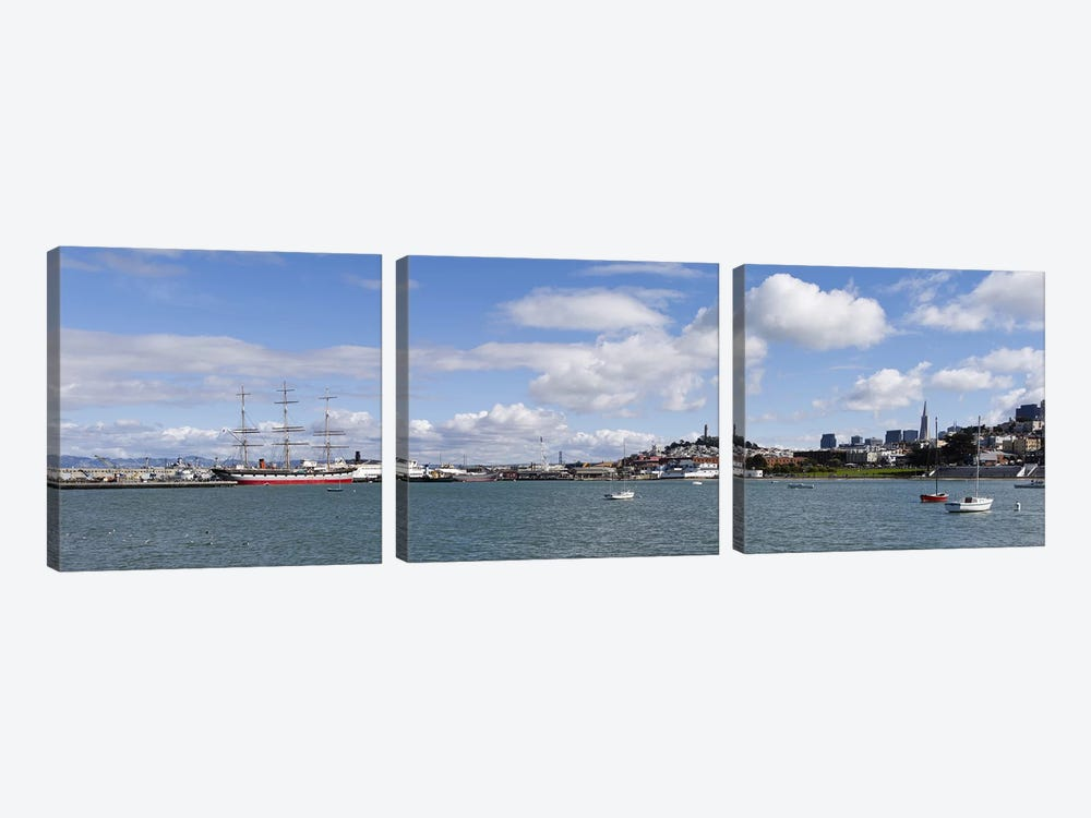 Boats in the bay, Transamerica Pyramid, Coit Tower, Marina Park, Bay Bridge, San Francisco, California, USA by Panoramic Images 3-piece Canvas Art