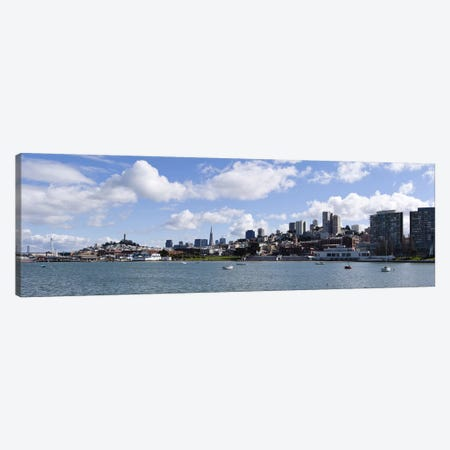 Distant View Of The Financial District With The Fisherman's Wharf District In The Foreground, San Francisco, California Canvas Print #PIM10166} by Panoramic Images Canvas Wall Art