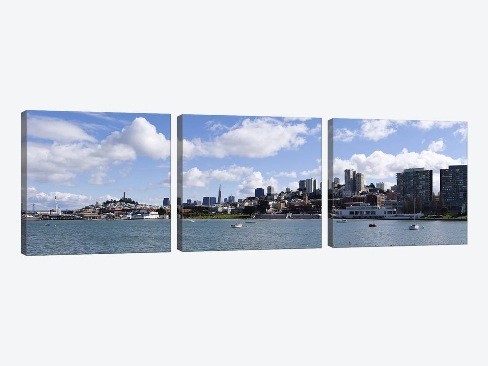 Skyscrapers at the waterfront, Transamerica Pyramid, Ghirardelli Building, Coit Tower, Marina Park, San Francisco, California, U by Panoramic Images 3-piece Canvas Art Print