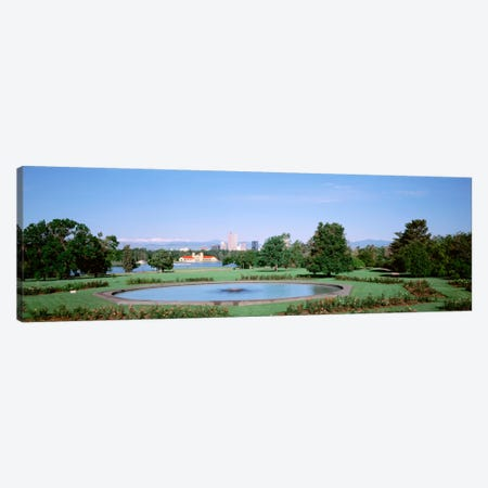 Formal garden in City Park with city and Mount Evans in background, Denver, Colorado, USA Canvas Print #PIM1016} by Panoramic Images Canvas Print