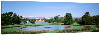 Formal garden in City Park with city and Mount Evans in background, Denver, Colorado, USA Canvas Print #PIM1016
