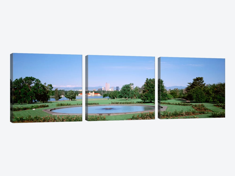 Formal garden in City Park with city and Mount Evans in background, Denver, Colorado, USA 3-piece Canvas Art Print