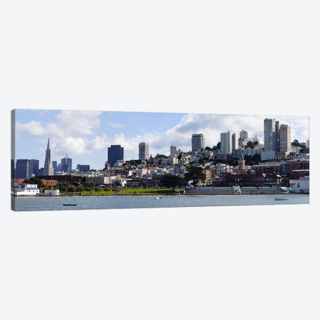 Buildings at the waterfront, Transamerica Pyramid, Ghirardelli Building, Coit Tower, San Francisco, California, USA Canvas Print #PIM10171} by Panoramic Images Canvas Art