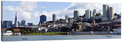 Buildings at the waterfront, Transamerica Pyramid, Ghirardelli Building, Coit Tower, San Francisco, California, USA Canvas Print #PIM10171
