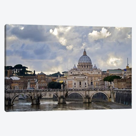 Arch bridge across Tiber River with St. Peter's Basilica in the background, Rome, Lazio, Italy Canvas Print #PIM10178} by Panoramic Images Canvas Artwork