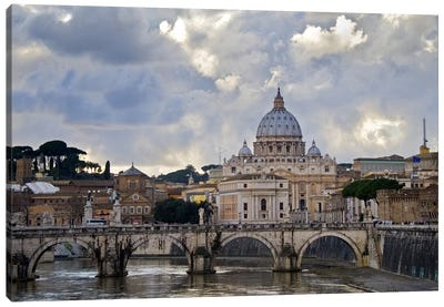 Arch bridge across Tiber River with St. Peter's Basilica in the background, Rome, Lazio, Italy Canvas Art Print