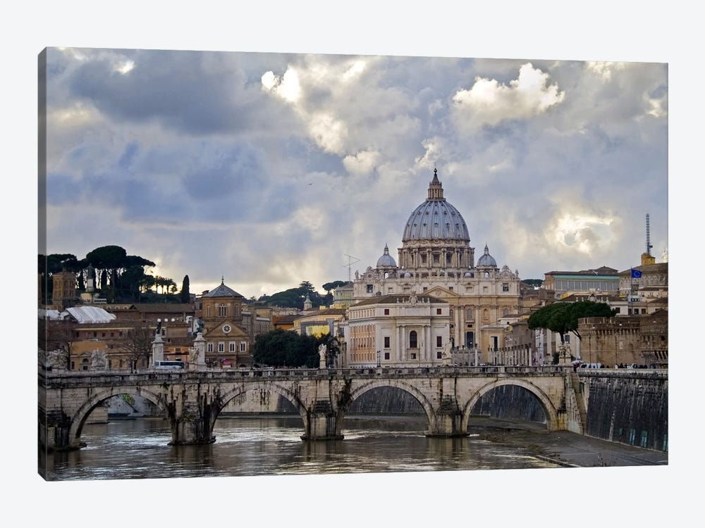 Arch bridge across Tiber River with St. Peter's Basilica in the background, Rome, Lazio, Italy 1-piece Canvas Artwork