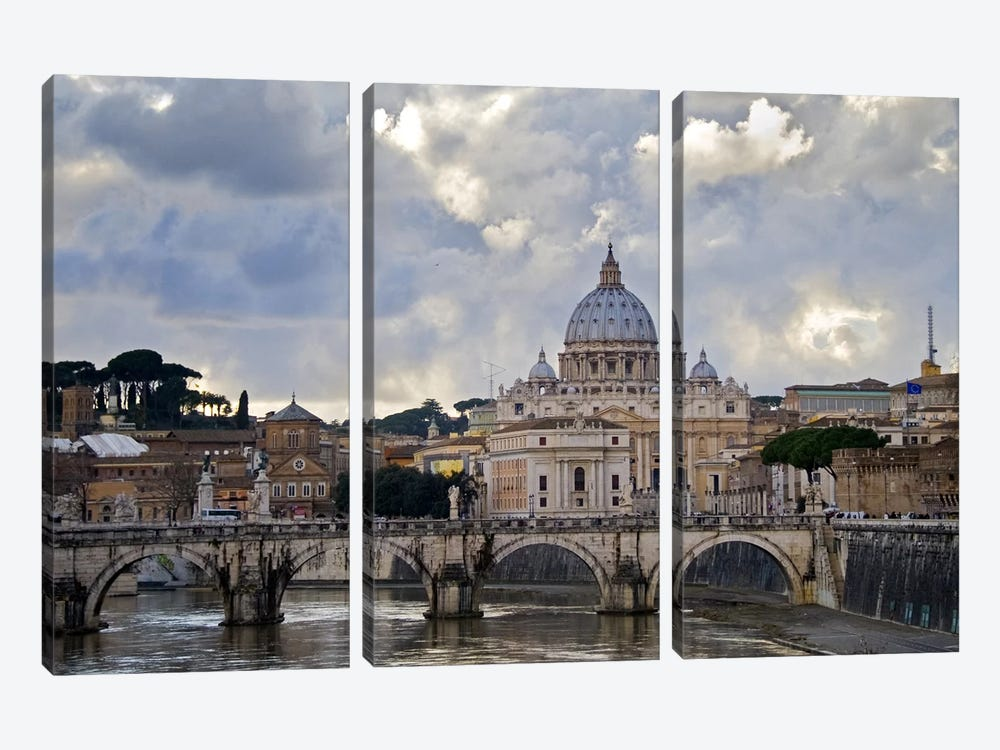 Arch bridge across Tiber River with St. Peter's Basilica in the background, Rome, Lazio, Italy by Panoramic Images 3-piece Canvas Artwork