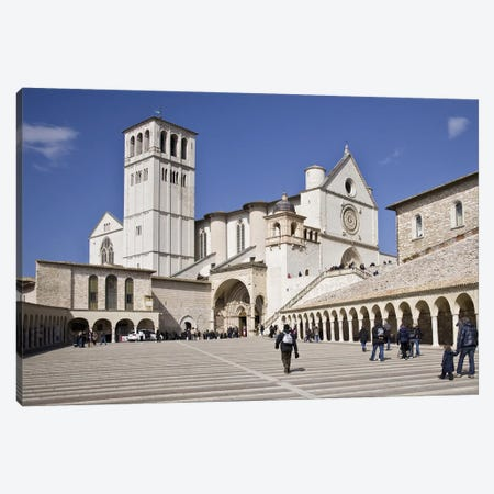 Tourists at a church, Basilica of San Francesco D'Assisi, Assisi, Perugia Province, Umbria, Italy Canvas Print #PIM10182} by Panoramic Images Canvas Art Print