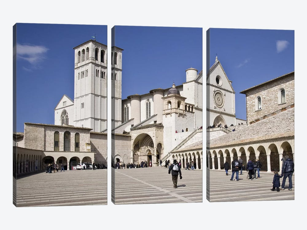 Tourists at a church, Basilica of San Francesco D'Assisi, Assisi, Perugia Province, Umbria, Italy by Panoramic Images 3-piece Canvas Print