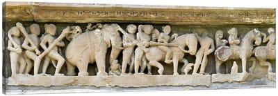 Sculptures detail of a temple, Khajuraho, Chhatarpur District, Madhya Pradesh, India Canvas Print #PIM10184