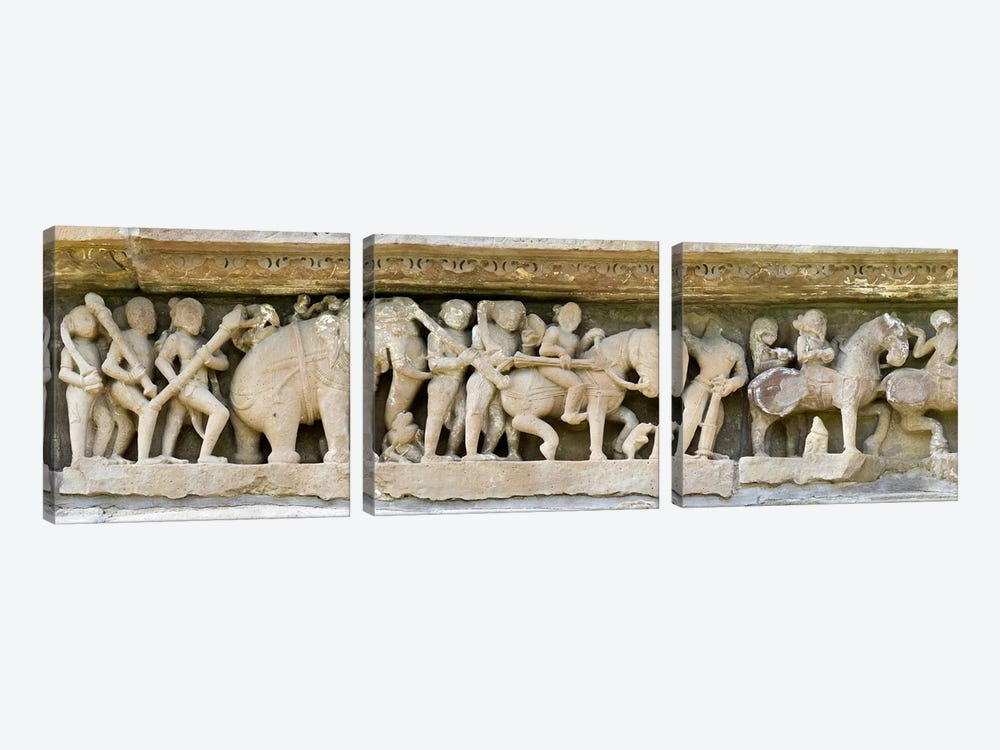 Sculptures detail of a temple, Khajuraho, Chhatarpur District, Madhya Pradesh, India by Panoramic Images 3-piece Canvas Print