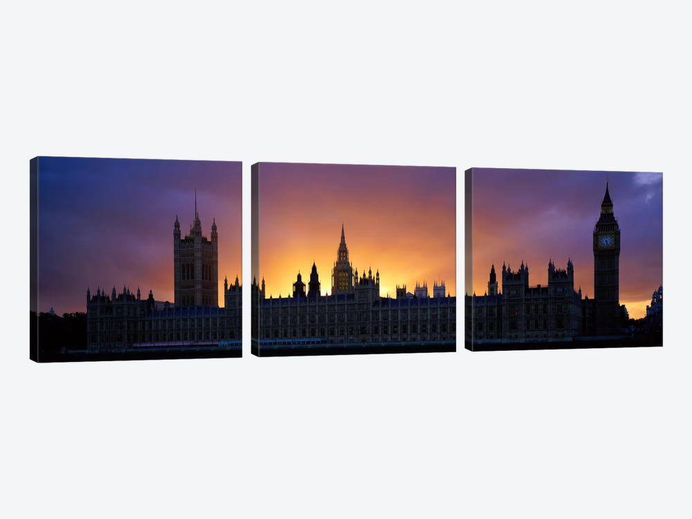 Sunset Houses of Parliament & Big Ben London England by Panoramic Images 3-piece Canvas Print