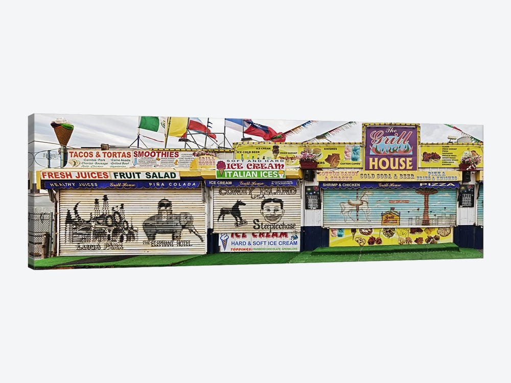 Old Store Front along Riegelmann Boardwalk, Long Island, Coney Island, New York City, New York State, USA by Panoramic Images 1-piece Canvas Wall Art