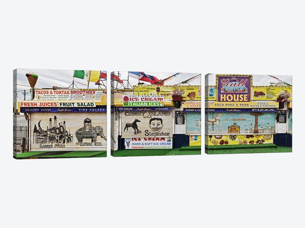 Old Store Front along Riegelmann Boardwalk, Long Island, Coney Island, New York City, New York State, USA by Panoramic Images 3-piece Canvas Wall Art