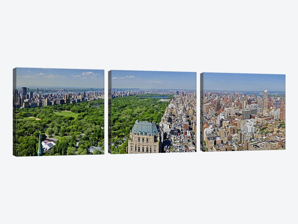 Aerial view of a city, Central Park, Manhattan, New York City, New York State, USA 2011 3-piece Canvas Art
