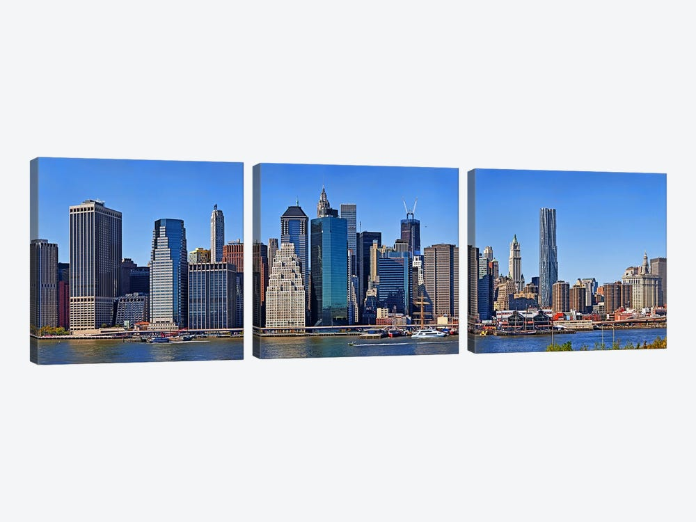 Skyscrapers at the waterfront, Lower Manhattan, Manhattan, New York City, New York State, USA 2011 by Panoramic Images 3-piece Canvas Wall Art