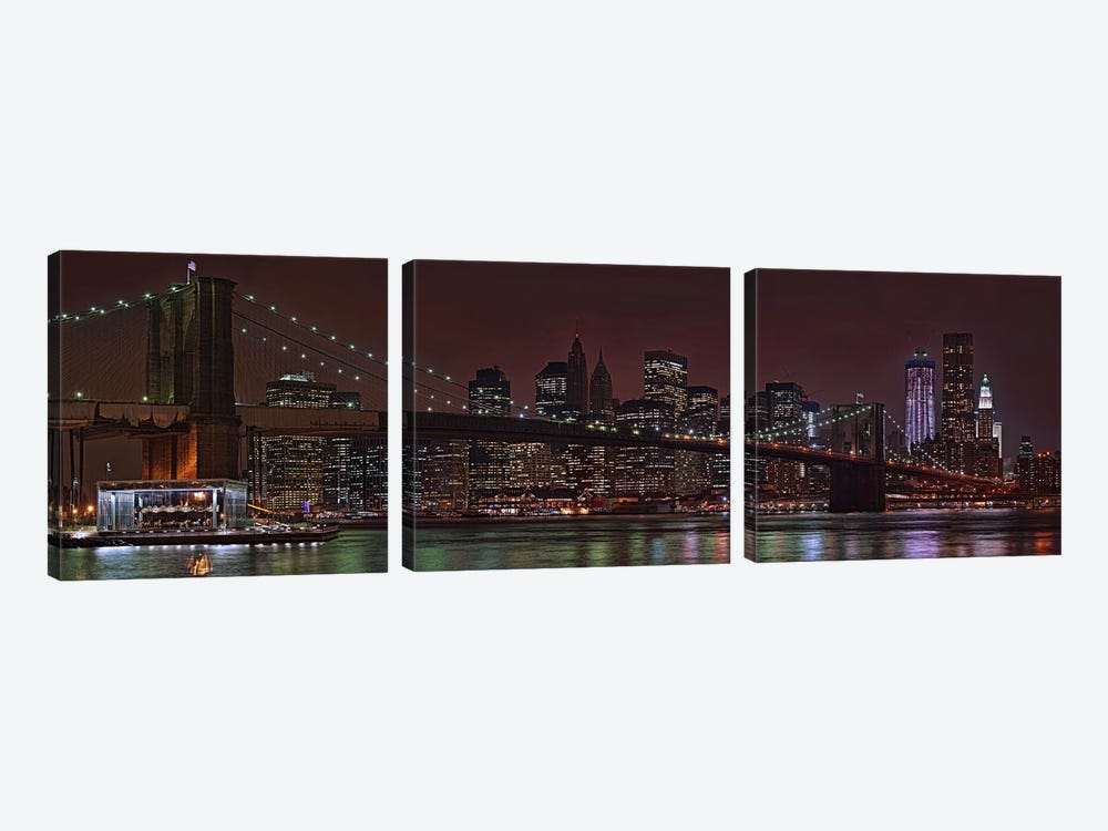 Jane's Carousel at the base of the bridge, Brooklyn Bridge, Manhattan, New York City, New York State, USA 2011 by Panoramic Images 3-piece Canvas Print