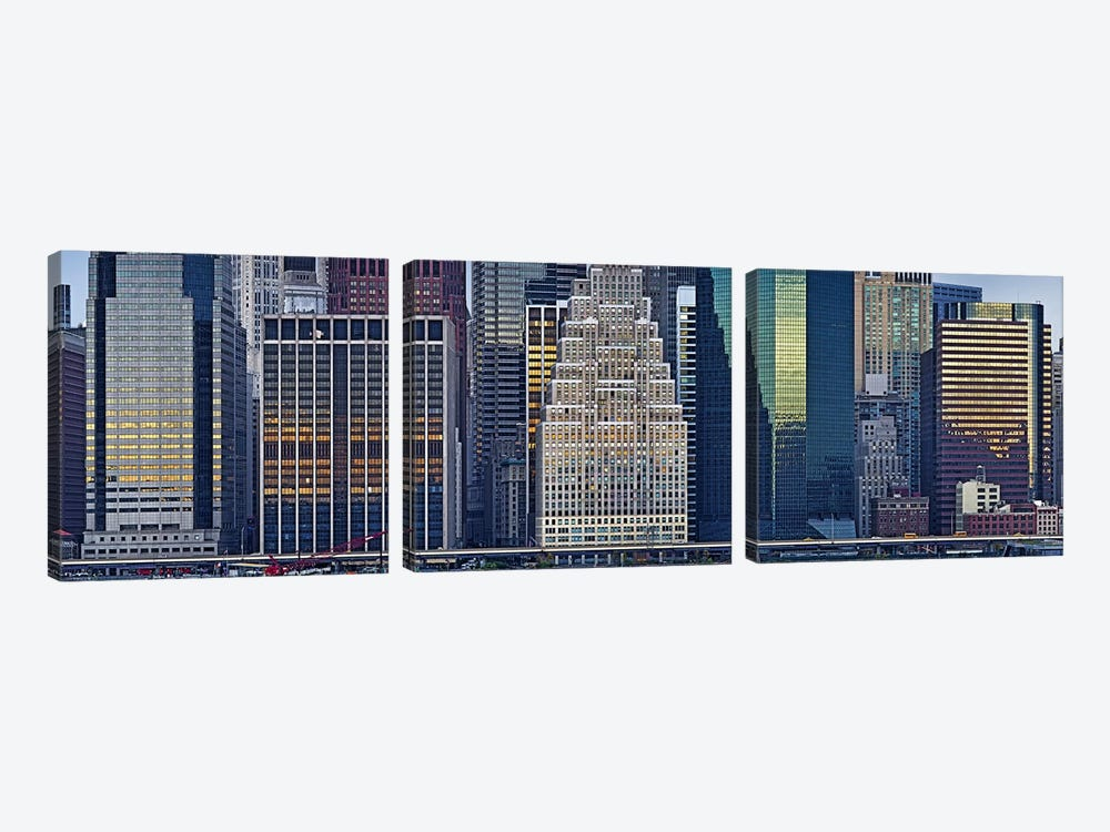 Skyscrapers in a city, New York City, New York State, USA 2011 by Panoramic Images 3-piece Art Print