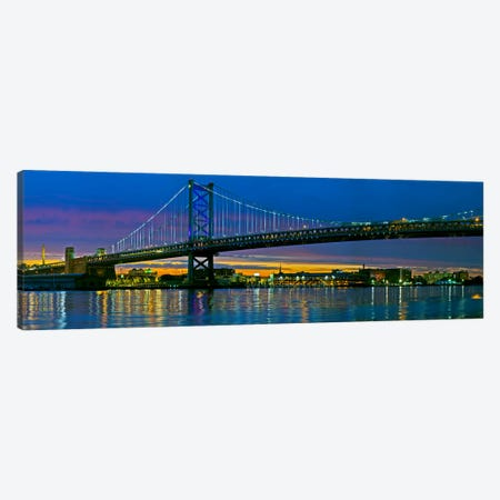 Suspension bridge across a river, Ben Franklin Bridge, River Delaware, Philadelphia, Pennsylvania, USA Canvas Print #PIM10241} by Panoramic Images Canvas Wall Art