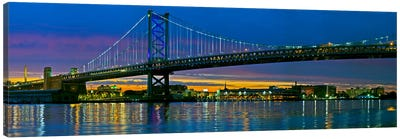 Suspension bridge across a river, Ben Franklin Bridge, River Delaware, Philadelphia, Pennsylvania, USA Canvas Art Print