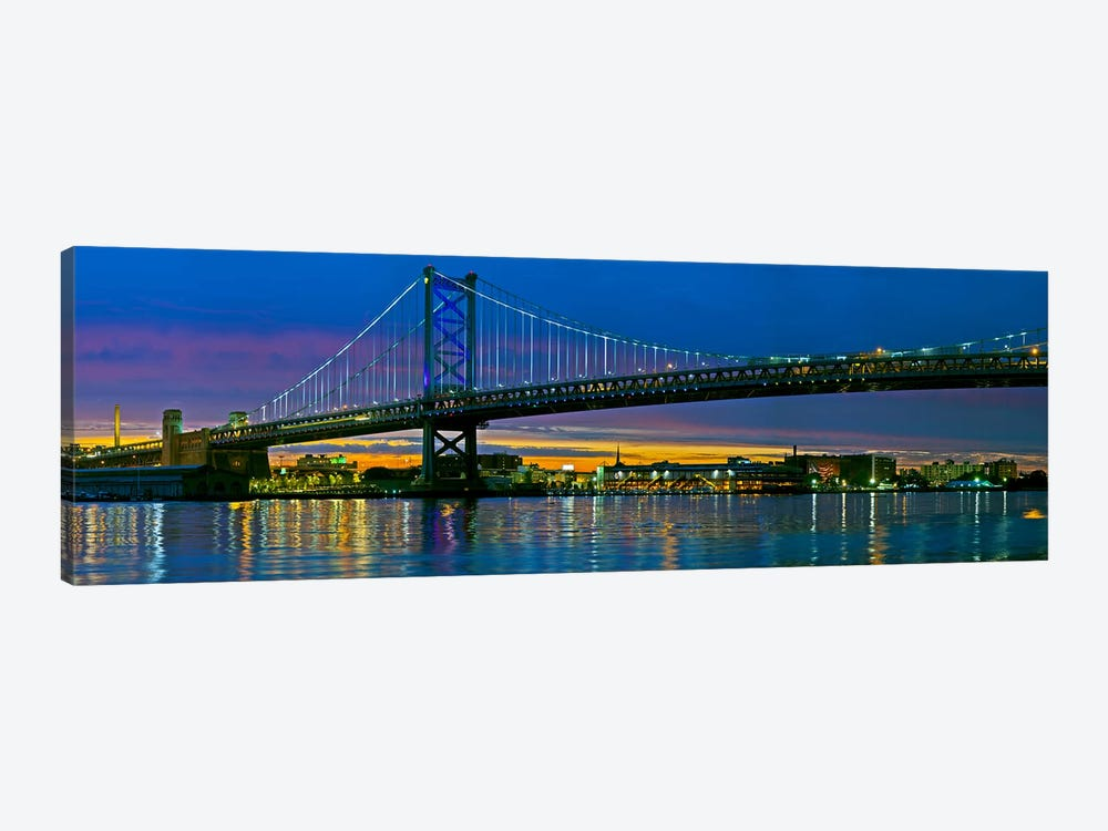 Suspension bridge across a river, Ben Franklin Bridge, River Delaware, Philadelphia, Pennsylvania, USA by Panoramic Images 1-piece Canvas Artwork