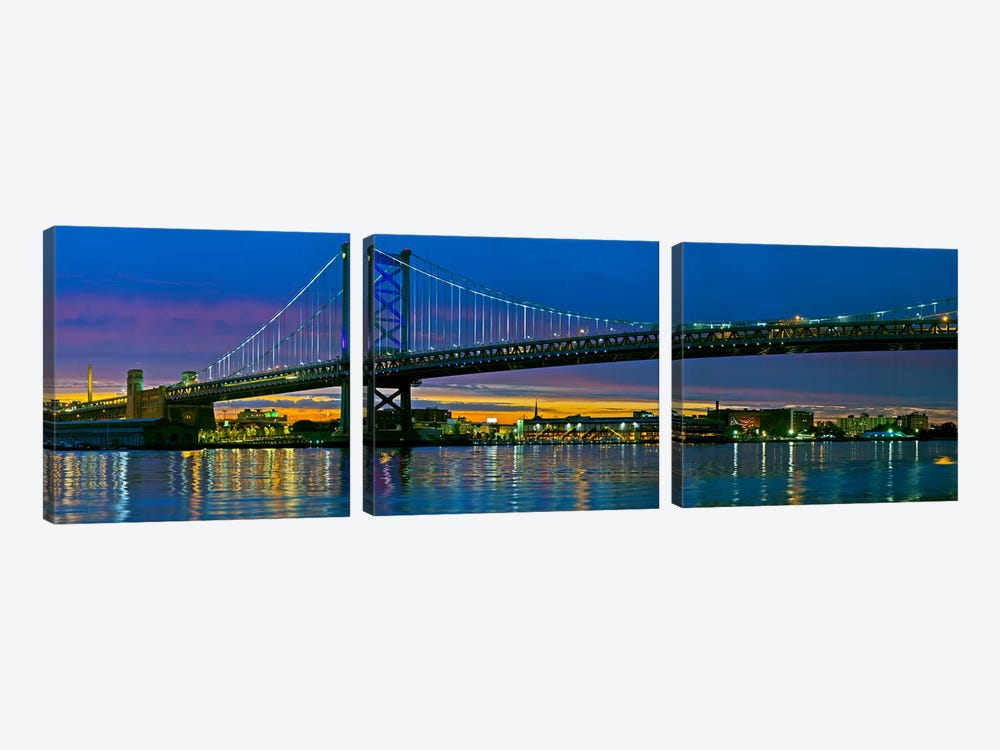 Suspension bridge across a river, Ben Franklin Bridge, River Delaware, Philadelphia, Pennsylvania, USA by Panoramic Images 3-piece Canvas Art