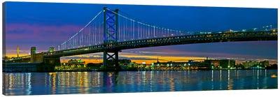 Suspension bridge across a river, Ben Franklin Bridge, River Delaware, Philadelphia, Pennsylvania, USA Canvas Art Print