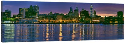 Buildings at the waterfront, River Delaware, Philadelphia, Pennsylvania, USA Canvas Art Print
