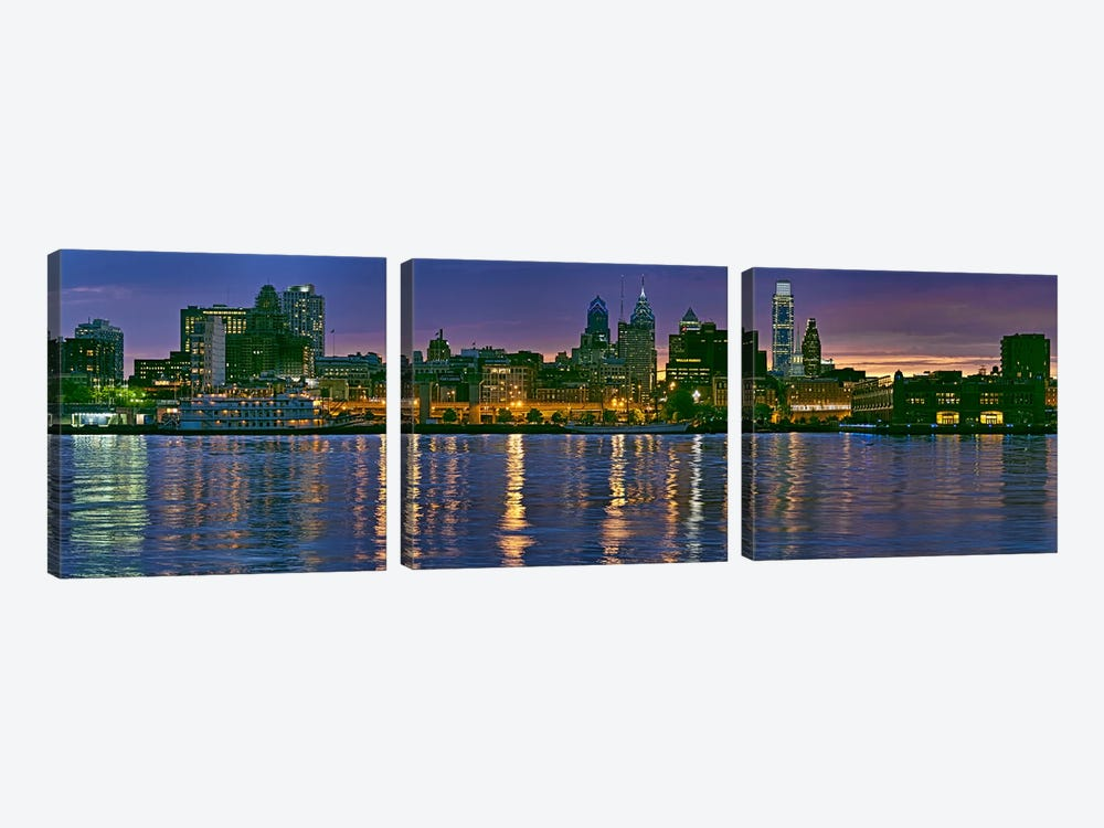 Buildings at the waterfront, River Delaware, Philadelphia, Pennsylvania, USA by Panoramic Images 3-piece Canvas Print