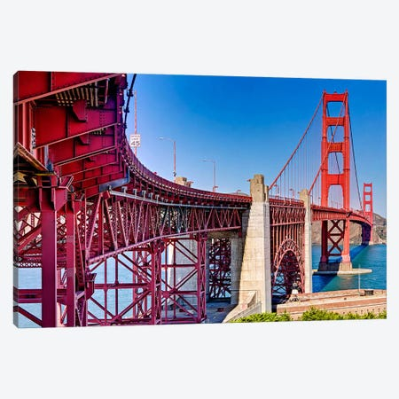 High dynamic range panorama showing structural supports for the bridge, Golden Gate Bridge, San Francisco, California, USA Canvas Print #PIM10243} by Panoramic Images Canvas Wall Art