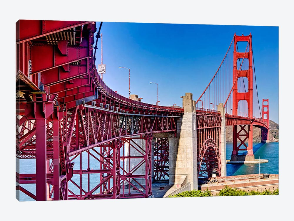 High dynamic range panorama showing structural supports for the bridge, Golden Gate Bridge, San Francisco, California, USA by Panoramic Images 1-piece Canvas Wall Art