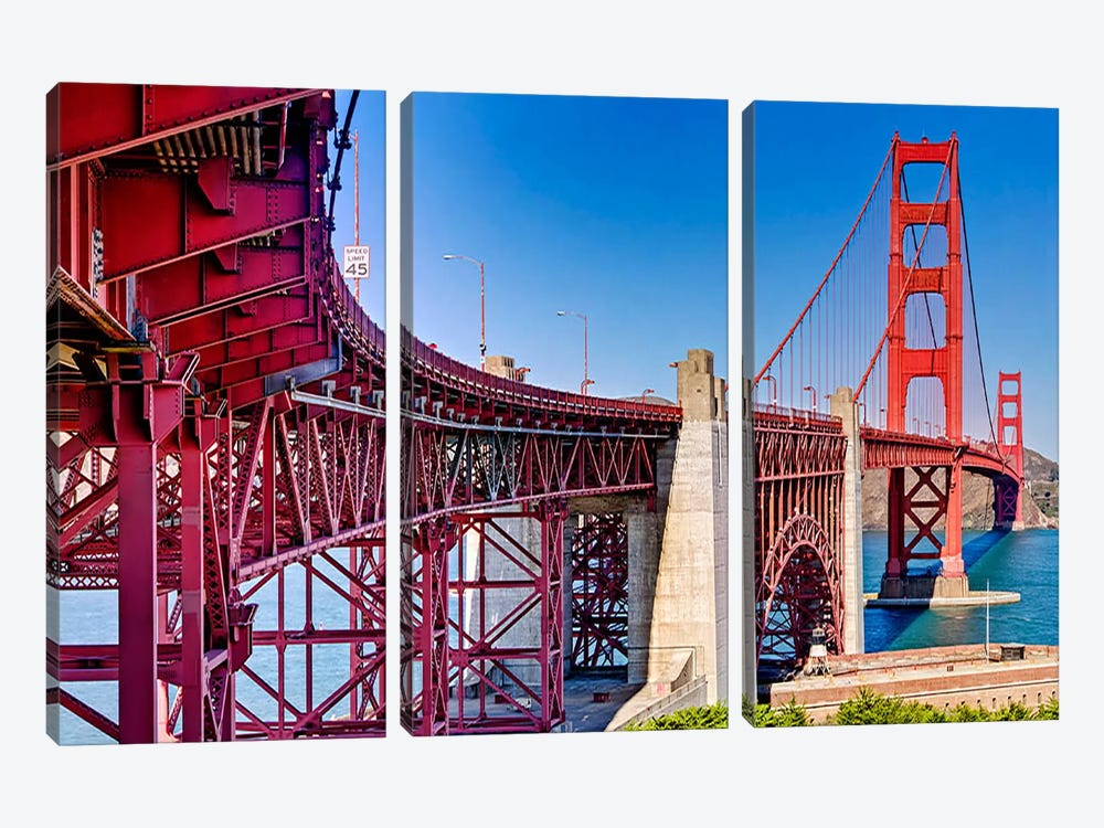 High dynamic range panorama showing structural supports for the bridge, Golden Gate Bridge, San Francisco, California, USA by Panoramic Images 3-piece Canvas Artwork