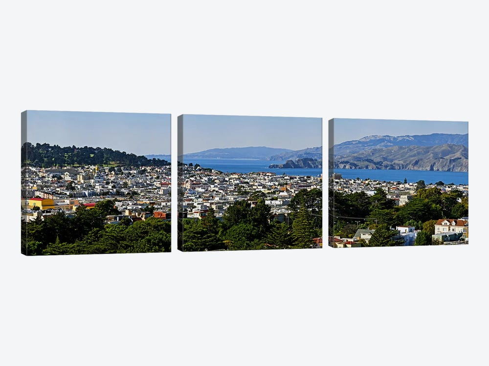 High angle view of a city, Richmond District, Lincoln Park, San Francisco, California, USA by Panoramic Images 3-piece Canvas Art Print