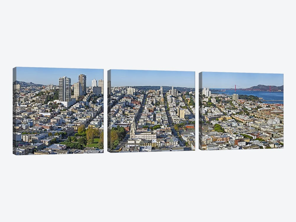 High angle view of a cityCoit Tower, Telegraph Hill, San Francisco, California, USA 3-piece Canvas Art