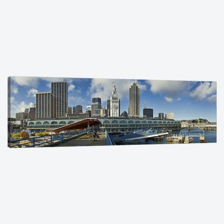 Ferry terminal with skyline at portFerry Building, The Embarcadero, San Francisco, California, USA Canvas Print #PIM10246} by Panoramic Images Art Print