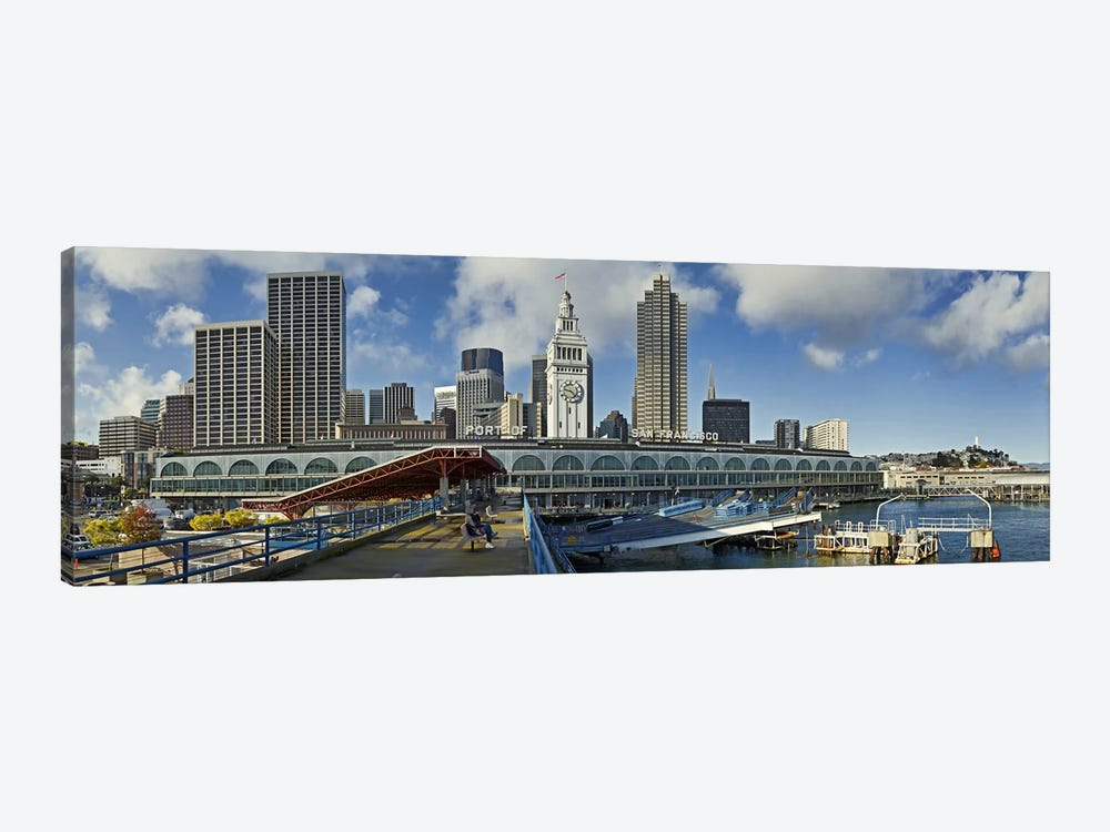 Ferry terminal with skyline at portFerry Building, The Embarcadero, San Francisco, California, USA by Panoramic Images 1-piece Art Print