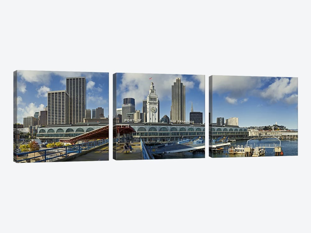 Ferry terminal with skyline at portFerry Building, The Embarcadero, San Francisco, California, USA by Panoramic Images 3-piece Art Print