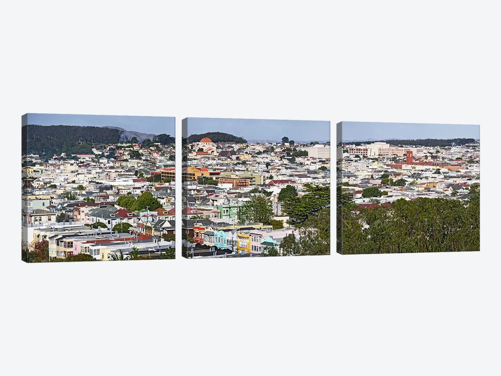 High angle view of colorful houses in a city, Richmond District, Laurel Heights, San Francisco, California, USA by Panoramic Images 3-piece Canvas Art