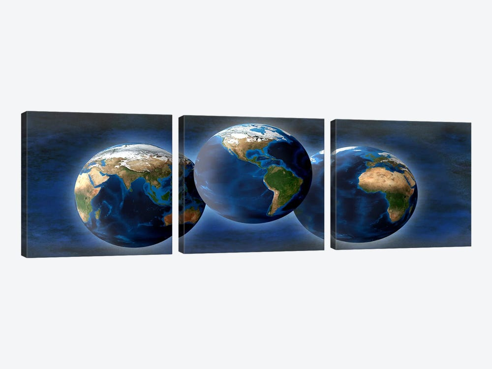 Three earths by Panoramic Images 3-piece Canvas Art