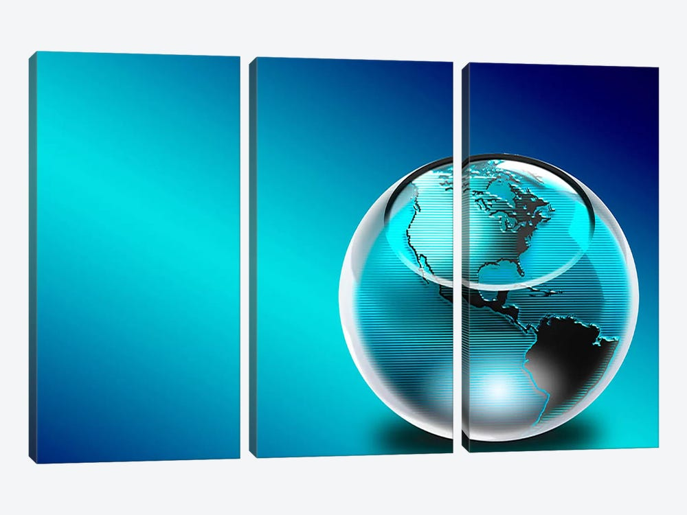 Glass earth by Panoramic Images 3-piece Canvas Wall Art