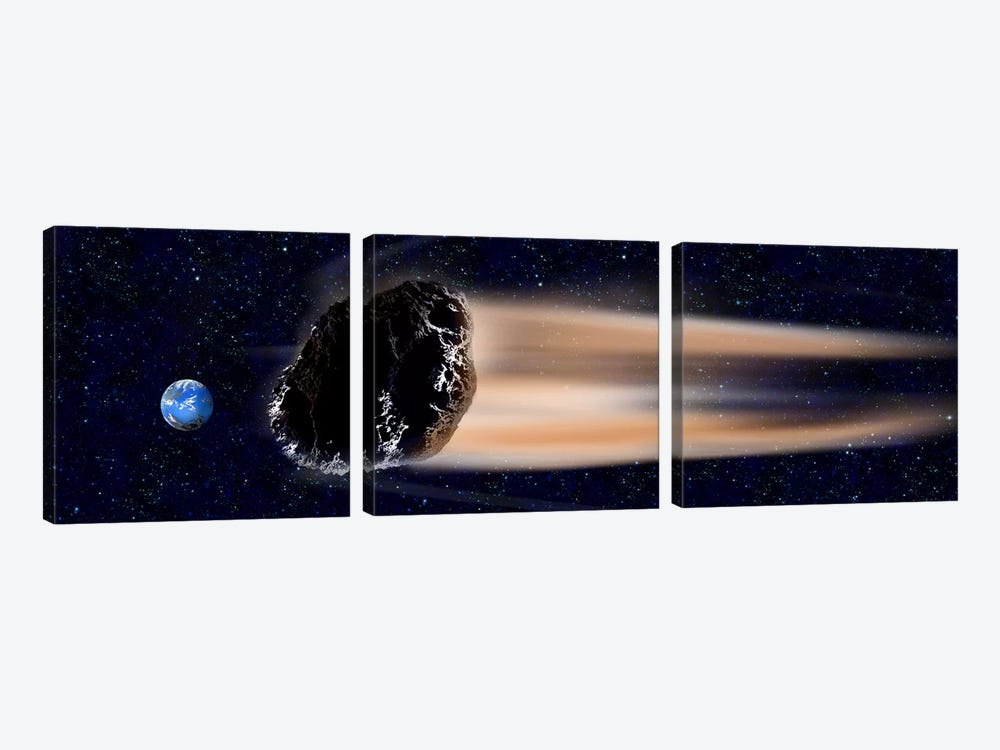 Meteor coming at earth 3-piece Canvas Artwork