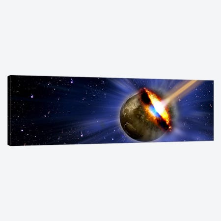 Comet hitting earth Canvas Print #PIM10257} by Panoramic Images Canvas Wall Art