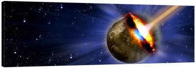 Comet hitting earth Canvas Art Print