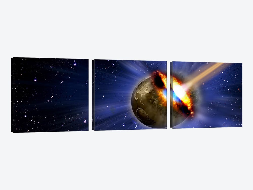 Comet hitting earth by Panoramic Images 3-piece Canvas Print