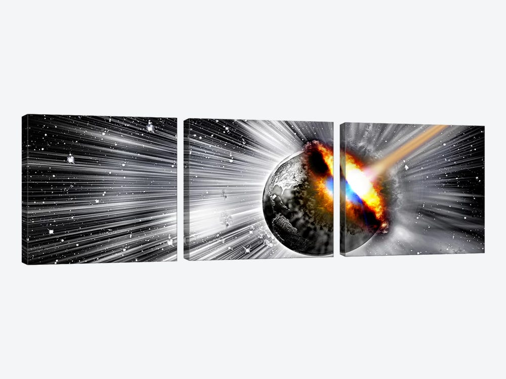 Earth hit by comet by Panoramic Images 3-piece Canvas Artwork
