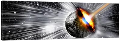Earth hit by comet Canvas Art Print